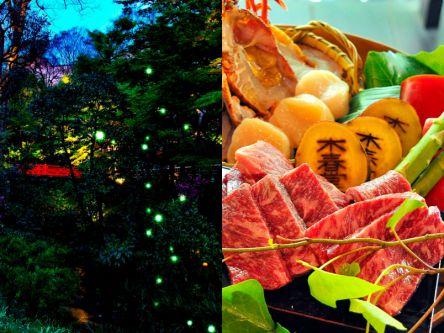 都心でホタル舞う絶景を。贅沢石焼料理とホタル観賞ディナープラン