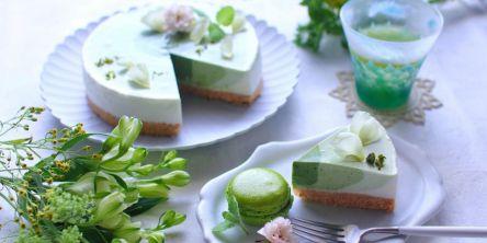 新緑の季節に。オーブン不要の抹茶のグラデーションレアチーズケーキ【kyoko_plusのレシピ&テーブルコーデvol.32】